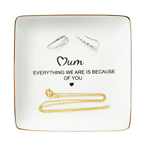 Ring Trinket Dish, Mother Gifts from Daughter or Son – Mum, Everything We Are Is Because Of You, Gift Ideas for Mother's…