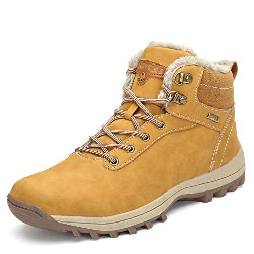 Winter Women's Hiking Boots Non-Slip Casual Outdoor Warm Fashion Men's Ankle Snow Shoes Trekking Walking Running Khaki 10.5 Women/8.5 Men
