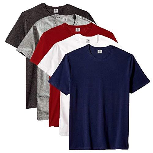 Kit com 5 Camiseta Masculina Básica Algodão KeroLook Premium Noronha TAMANHO:G;COR:BRANCO