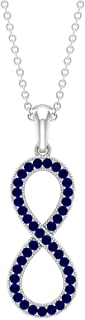 1/4 CT Infinity Necklace for Women with Pave Set Created Blue Sapphire (AAAA Quality)