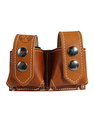 Best Buy! Barsony New Saddle Tan Leather Revolver Double Speed Loader Pouch for 6 Shot .44 Mag