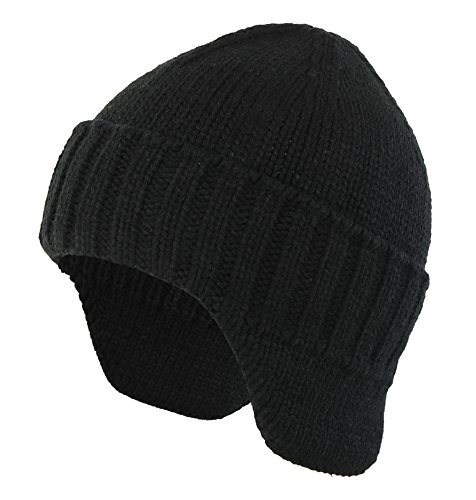 Home Prefer Mens Winter Knit Earflap Hat Cuffed Beanie with Ears Warmer Black