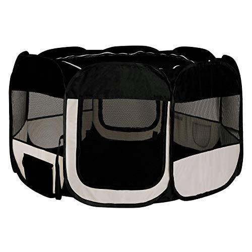 lionto by dibea Puppy run de tela oxford para exteriores parque para animales recinto para cachorros color negro beige