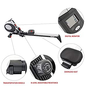 Magnetic Rowing Machine Full Body Training Quiet Adjustable Resistance Rower Indoor Fitness Workout w/LCD Monitor Foldable Exercise Equipment for Home Use, R60 (Silver)