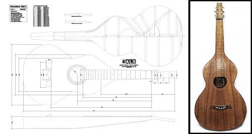 Plan of a Weissenborn Lap Slide Gitarre–Full-Scale drucken...
