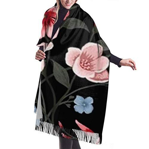 Manta, Tapiz, Bufanda con Flecos, Accesorios de Vestidos, patrón Floral Transparente Vector Premium Warm Tassel Poncho Chal Capa