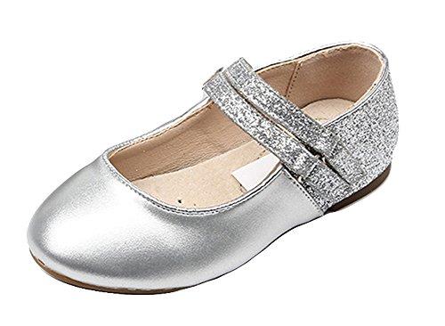 Insun Mädchen Glitzer Ballerinas Schuhe Leder Festliche Kinderschuhe Mary Jane Prinzessin Schuhe Silber 35 EU