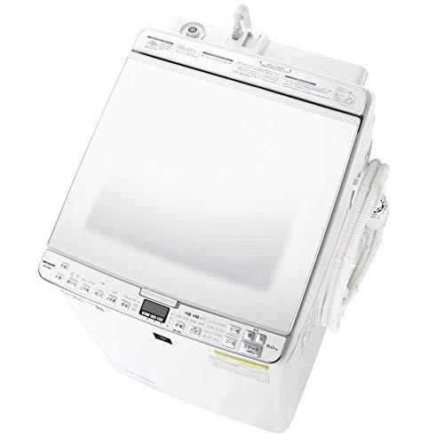 シャープ 洗濯機 洗濯乾燥機 ES-PX8E-W ガラストップ 穴なし槽 インバーター 8kg プラズマクラスター搭載 ホワイト
