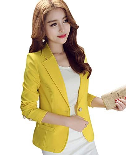 Kaiyei Mujer Otoño Primavera Blazers y Chaquetas Trabajo Oficina Dama Traje Slim Office Blazer Mujer Escudo Amarillo 2XL