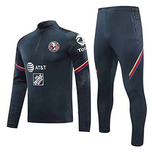 C.V Fútbol Entrenamiento Jersey Traje de fútbol Set LǔǐS Sports Pullover Jogging Top and Pants Traje Jackets & Pantalones Juego de Traje, Traje de Competencia Gris-n M