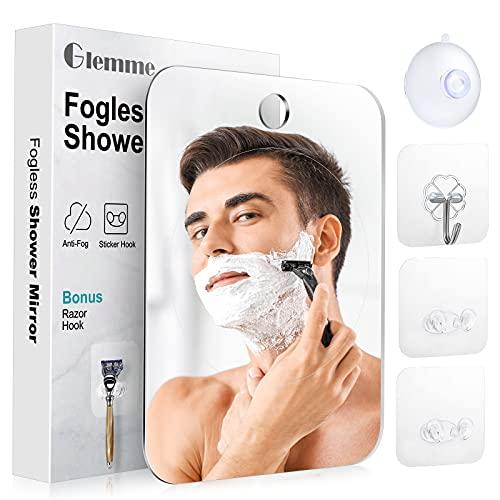 Shower Mirror Fogless for Shaving, Anti-Fog Mirror with Razor Holder, Shatterproof Fogless Mirror for Shaving, Bathroom Accessories for Men & Women