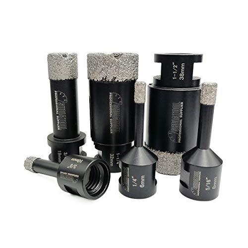 SHDIATOOL 6PCS Diamond Core Drill Bits Set for Porcelain Tile Granite Marble Stone Brick Vacuum Brazed Hole Saws 06 08 10 19 32 38mm