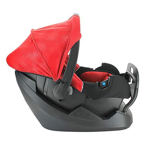 NANIA Siège Auto BEONE Groupe 0+ (0-13kg) + Base ceinturée - Protection latérale - 4 étoiles ADAC Luxe Rouge