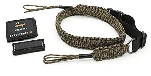 SUNYA Paracord Compound Bow Sling with V2 Upgraded Magnetic Connection System. Lightweight Hands Free Shoulder Carrying Sling for Bow Hunting, Field Archery and 3D (DS Camo)