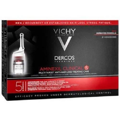 Dercos Vichy Aminexil Intensive Anticaduta Uomo, 21 Flaconi da 6 ml - 126 ml