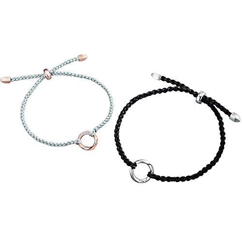 Pulsera Pareja Pulsera Un par de pulseras de plata esterlina Joyería tejida a mano para hombres y mujeres para cumpleaños, aniversarios, regalos navideños en blanco y negro