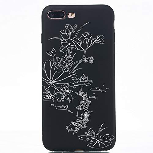 Banaz Funda para iPhone 8 Plus y 7 Plus Lotus Pond Pintado Patrón Suave TPU Funda de Teléfono