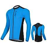 West Biking Herren Radtrikot Langarm, Fahrradtrikot Radsport T-Shirt mit 3 Rückentaschen, Atmungsaktives Fahrrad Trikot Schnelltrockend Trek Radtrikot Fahrradbekleidung für MTB Rennrad, Blau, 3XL