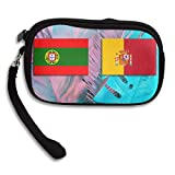 Portugal and Spain Flags Deluxe Printing Small Portable Receiving Bag
