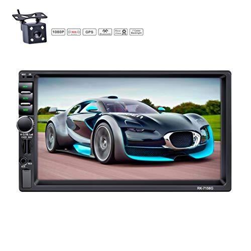 LSLYA 7 Pulgadas Pantalla Táctil 2din car radio navegación GPS 1080P Vista Posterior Cámara Espejo Bluetooth Manos Libres Llamadas reproductor MP5 FM / AM / RDS radio Volante Control