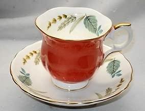 Vintage Crown Fine Bone China Staffordshire England Orange Leaves Pattern Tea Cup and Saucer Set
