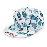 Gorro de béisbol con diseño de animales para acuarios de dibujos animados oceánicos marinos bajo el agua azul blanco ajustable y plano Snapback sombrero de bola para hombres y mujeres