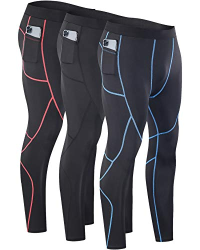 Milin Naco Men's Compression Pants, Cool Dry Baselayer Running Sports Tights with Pocket, Pack of 3-Vitality Black/Black/Athletic Black-4XL