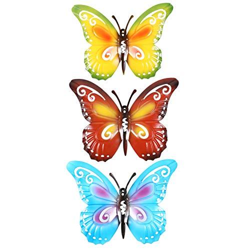 YARNOW 3 Pezzi Farfalla Arte della Parete in Metallo Grande Farfalla Appendiabiti da Parete Farfalle Scultura da Parete Decorazioni da Appendere Fai da Te Artigianato Farfalla Vintage