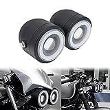 YHMTIVTU Dual Headlight Angel Eye Twin Headlight 3.5' Double Head Lamp Fit for Harley Yamaha Kawasaki Dirt Bikes Street Fighter Naked Bike