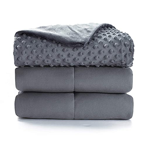 Bedsure Weighted Blanket for Adult with Removable Duvet Cover - Queen Size15lbs, Premium Cotton with Glass Beads 60'×80' Grey
