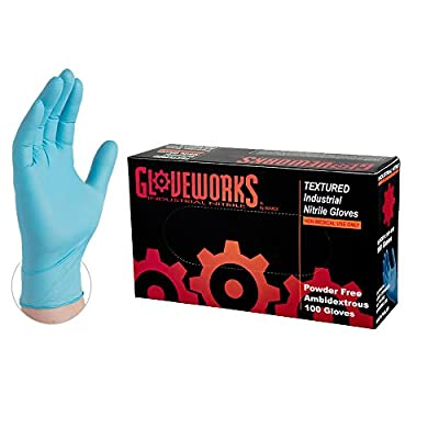 AMMEX Gloveworks Industrial Blue Nitrile Gloves, Box of 100, 5 mil, Size Large, Latex Free, Powder Free, Textured, Disposable, INPF46100-BX