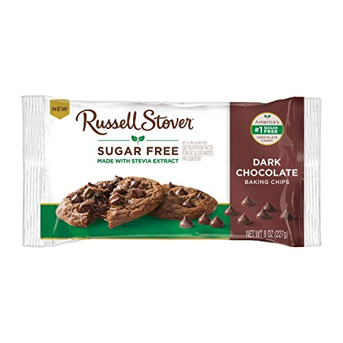 Russell Stover Sugar Free Dark Chocolate Baking Chips, Bag, brown, 8 ounce (pack of 1)