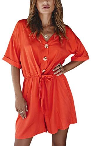 Spec4Y Damen Jumpsuit Sommer Kurz V Ausschnitt Einfarbig Kurzarm Vintage Overall Elastische Taille Strampler Knopf Kordelzug Romper mit Taschen Orange Medium