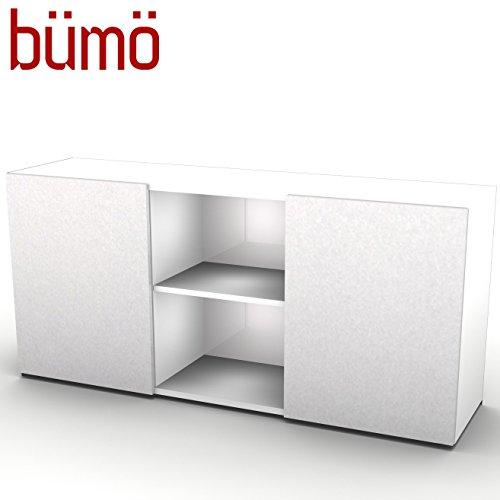 Hammerbacher kantoor dressoir met schuifdeuren | kantoorkast met opbergruimte voor mappen, boeken en materiaal | archiefkast in 5 kleuren wit/zilver