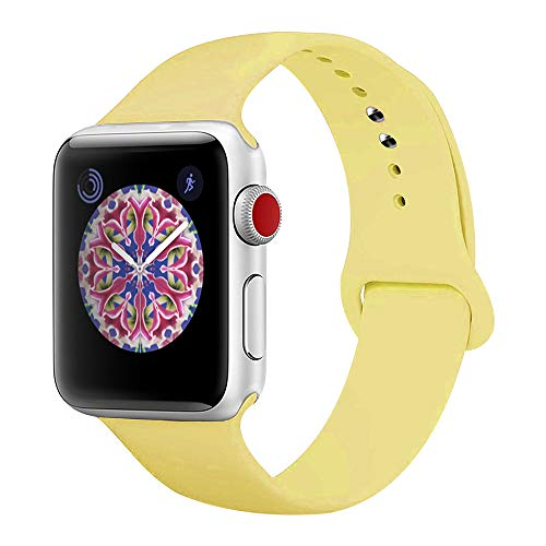 BMBEAR Sport Bands Compatible with Apple Watch 42mm 44mm Soft Silicone Band Replacement iWatch Strap for Apple Watch Series 4 Series 3 Series 2 Series 1 Yellow S/M