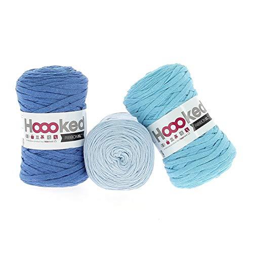 Hoooked RibbonXL Sparset aus 3 Rollen je 120 Meter Riesen-Textilgarn aus recycelter Kleidung in Aqua Intense