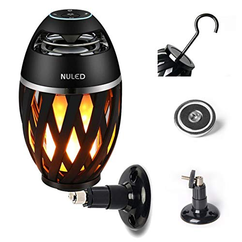 Portable Audio TiKi Torch Wall Mount Kit/Magnetic base/Hook Incl. IP65 Waterproof NULED Flame Bluetooth Speaker w. Warm Yellow LED Flickers Romantic Powerful Sound Indoor/Outdoor Table Lamp (One Pack)