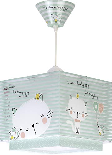 Dalber Lámpara Infantil de techo Loving Cat Gatos Verde animales, 60 W