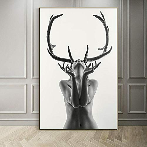 YJLMT 1 Panel Poster Leinwand Gemälde Schwarz Und Weiß Kreative Weibliche Schönheit Elch Geweih Abstrakte Poster Wandkunst Leinwand Malerei Bild Für Wohnkultur-50X70Cm Mit Rahmen