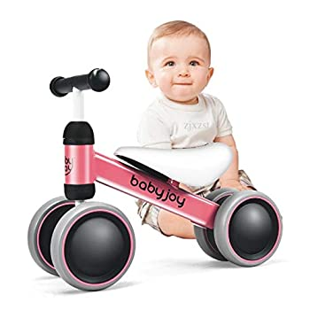BABY JOY Baby Balance Bikes Baby Bicycle Children Walker Toddler Baby Ride Toys for 9-24 Months Ride-on Toys Gifts Indoor Outdoor for 1 Year Old No Pedal Infant 4 Wheels Bike  Pink