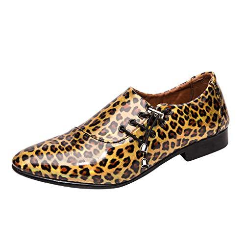 FNKDOR Schuhe Herren Jugend Persönlichkeit Lederschuhe Lackleder Gold 44 EU Leopard Gelee Seite Schnürung Tunnelzug Mode Gut Aussehend Fit Geschäft Casual Nachtclub Bankett