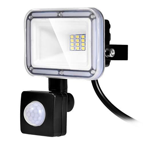 10W Foco LED con Sensor de Movimiento, Proyector LED Exterior Super Brillante 800LM 6500K Blanco Frío Impermeable IP67 Floodlights Iluminación LED Detector para Jardín, Patio, Garaje