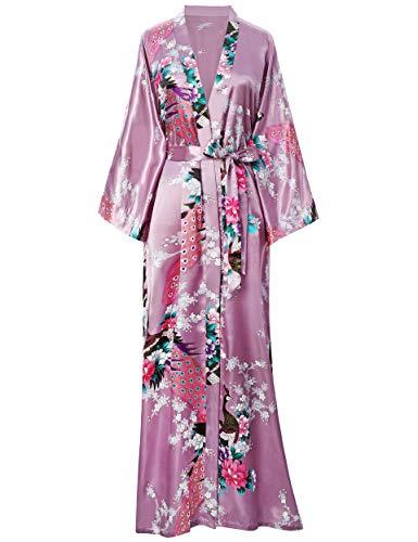 BABEYOND Damen Morgenmantel Maxi Lang Seide Satin Kimono Kleid Pfau Muster Kimono Bademantel Damen Lange Robe Schlafmantel Girl Pajama Party 135cm Lang (Maulbeere Wine)