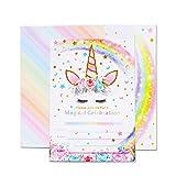 AMZTM Inviti con Buste per la Festa di Compleanno Bambini Baby Shower Tema Unicorno Arcobaleno Decorazioni Accessori Pet Festa delle Ragazze Set di 20