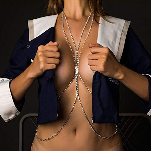 Sethain Boho Diamante de imitación Cuerpo Cadenas Plata En capas Cristal Bikini...