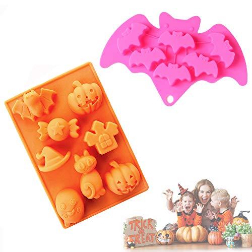 BONHHC Halloween Silikonform/Backform Schokoladenform/Silikonform für Cupcakes Süßigkeiten Gelee und Schokolade (2 Stück)
