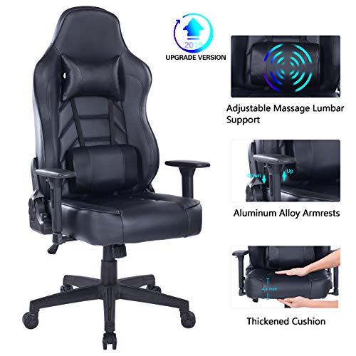 Blue Whale Massage Gaming Chair with Footrest Matel Base-Memory Foam Adjustable Backrest Reclining...