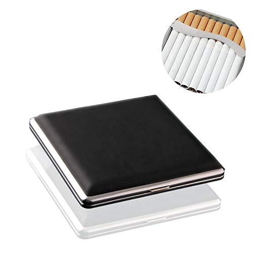 Schwarz Leder Metall Zigarettenetui Zigarettenrauch Halter Aufbewahrung Fall
