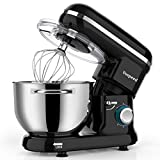 Stand Mixer, Vospeed Food Mixer Dough Blender, 6 QT 1500W Electric Cake Mixer with Bowl, Beater, Hook, Whisk, Egg Separator & Silicone Spatula, Dishwasher Safe (Black)