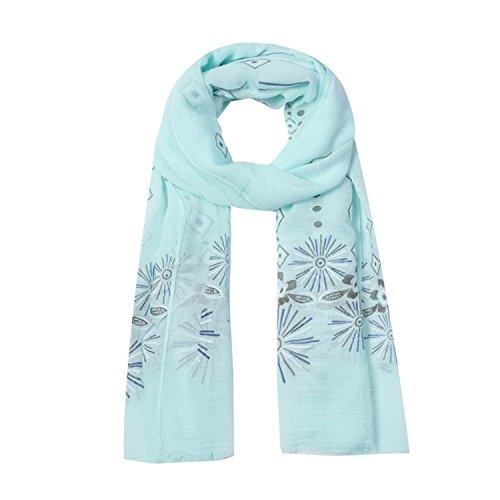 Schal XXL Sommerschal Halstuch Frühlingsschal Tuch mit stylischem Muster, Damen 00085675 (Mint)